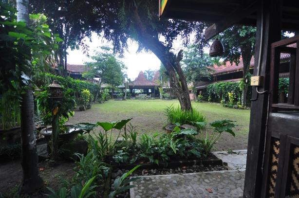 Sejuk segar pemandangan di halaman Pondok Tingal